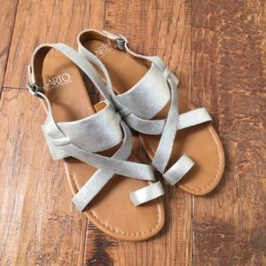 Silver/pale gold strappy sandals